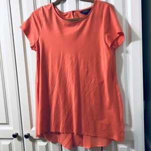 LAND'S END Mixed Fabric Top NWOT Size M 10/12